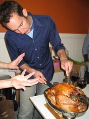 Brad carves the turkey
