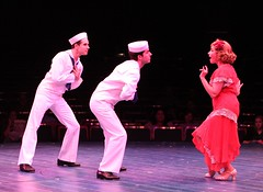 Melissa Fahn, Drew Franklin (left) and Elliott Bradley (far left) in Anything Goes at Music Circus July 26-31. Photo by Charr Crail.