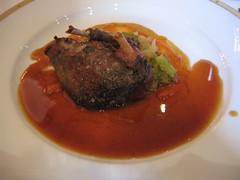 Wild Landes pigeon and Savoy cabbage.  Basque-style jus.