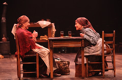 """Helen Geller and Adrienne Barbeau as Yente, the Matchmaker, and Golde in the Music Circus production of """"Fiddler on the Roof"""" at the Wells Fargo Pavilion Aug 14-19. Photo by Charr Crail."""