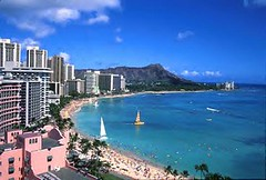 Waikiki Beach and Diamond Head, Oahu, Hawaii.  Photo by eobisch.
