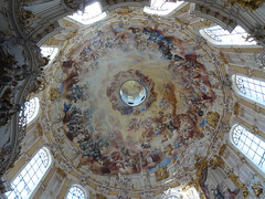 Ettal Monastery Pilgrimage Church - dome shows hundreds of Benedictines worshipping the Holy Trinity - classic southGerman Baroque