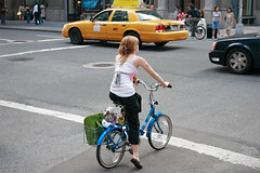Girl with bike in Manhattan