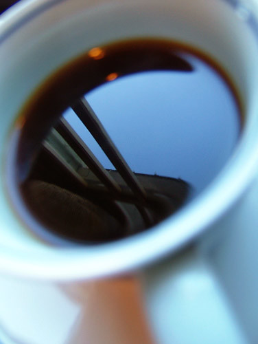 Svart kaffe i kaffemugg