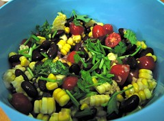 Sweet corn, tomato and kidney bean salad
