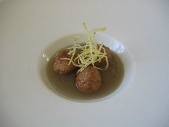Veal meatballs in pork gelee.