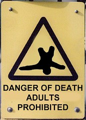 A new sign soon to be introduced in playgrounds across the country in order to help prevent adults killing themselves on childrens slides because they are just not built for it. See here for a more graphic rendition of the full consequences.
