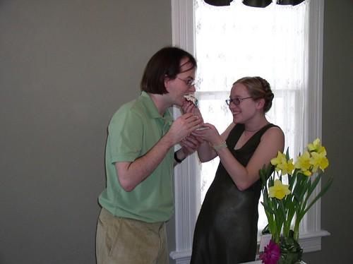 Me feeding Andrew cake