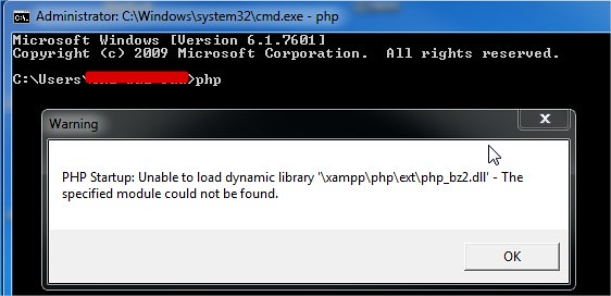 PHP Startup: Unable to load dynamic library php_bz2.dll