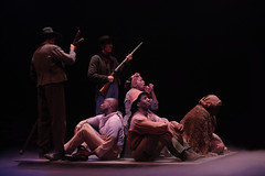 (Center) Jennifer Leigh Warren and the ensemble of Big River, produced by Music Circus at the Wells Fargo Pavilion June 23-28, 2015. Photos by Charr Crail.