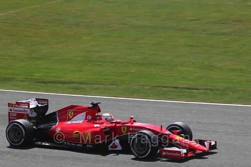 Sebastian Vettel's Ferrari in qualifying for the 2015 British Grand Prix at Silverstone