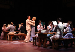 """Patrick Cassidy and Brandi Burkhardt as Harold Hill and Marian, and the company in the Music Circus production of """"The Music Man"""" at the Wells Fargo Pavilion July 31 - Aug 5. Photo by Charr Crail."""