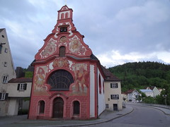 Fussen - church of the Holy Spirit - their patron Saint Christopher on the facade