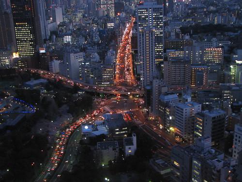 crossroads at night