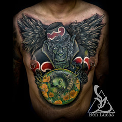 Ismaels-Flying-Monkey-Chest-Cover-Up-Tattoo-by-Ben-Lucas-at-Eye-of-Jade-Chico-CA-U.S.A