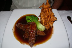Char grilled kangaroo sirloin – quandong chilli glaze – sweet potato fritter and bok choy
