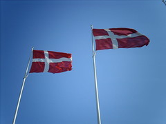 Two Danish flags a-flutter