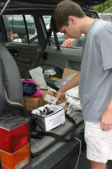 "IMG_3330: Ben/KF4KJQ Inspects the Payload • <a style=""font-size:0.8em;"" href=""http://www.flickr.com/photos/54494252@N00/9679582/"" target=""_blank"">View on Flickr</a>"