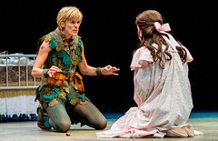 Jenn Colella as Peter Pan and Lori Eve Marinacci as Wendy Darling in Peter Pan, produced by Music Circus at the Wells Fargo Pavilion July 21-26, 2015. Photo by Kevin Graft.