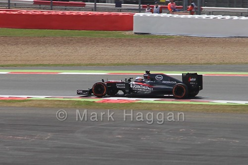 Fernando Alonso in Free Practice 2 for the 2015 British Grand Prix at Silverstone