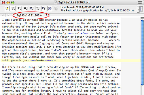 It's All Text! Firefox extension: text exported to BBEdit