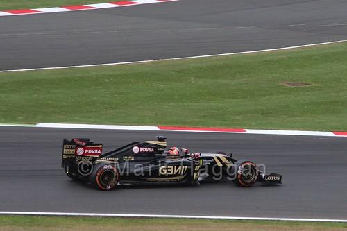 Romain Grosjean in his Lotus in Free Practice 3 at the 2015 British Grand Prix