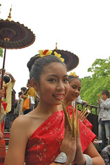 Lady who is The Thai dresses native dress