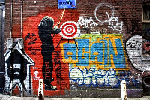 An example of both gang names and street art