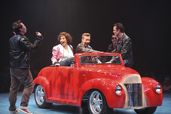 (L to R) Keven Quillon, Lesli Margherita, Michael D. Jablonski and Brandon Albright in the Music Circus production of Grease June 26 through July 1, 2012. Photo by Charr Crail.