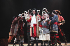 Paul Schoeffler as Captain Hook and Michael Nostrand as Smee with the Pirates in Peter Pan, produced by Music Circus at the Wells Fargo Pavilion July 21-26, 2015. Photo by Charr Crail.