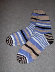 Hand knit mis-matched socks