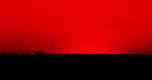 sunset in black and red