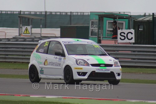 Michael Higgs in the BRSCC Fiesta Junior Championship at Silverstone, August 2015