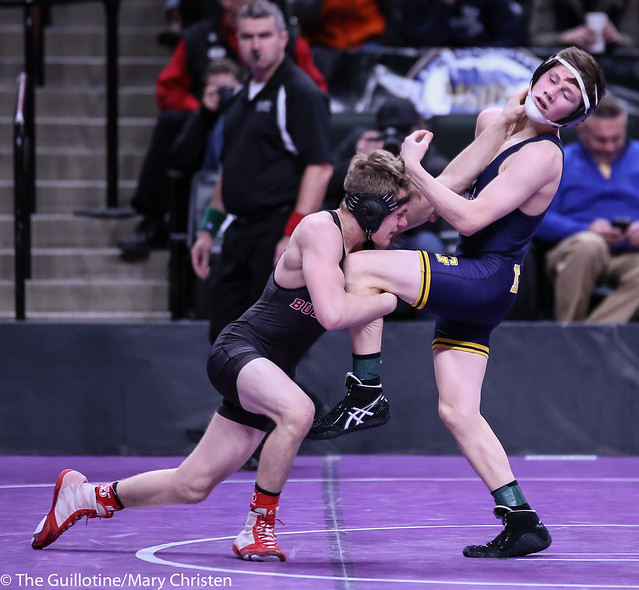 113AA - Semifinal - Jake Svihel (Totino-Grace) 43-4 won by decision over Ben Naddy (Ottertail Central) 38-4 (Dec 8-4)