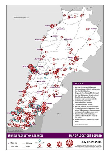 Map of Israeli bombing and destruction  - July 12 - 25 2006