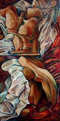 Dormiente inquieta, tecnica mista su tela, 50×100 2007