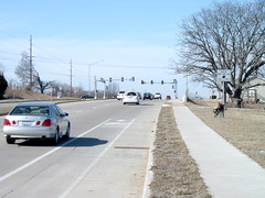 Bike lane in Columbia, Missouri
