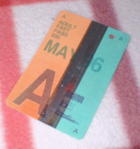 Muni bus pass from May, 1996