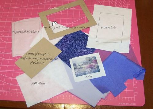 Crazy Quilting Postcard - Tutorial - Ingredients