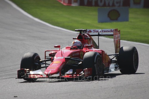 Sebastian Vettel in Free Practice 1 for the 2015 Belgium Grand Prix