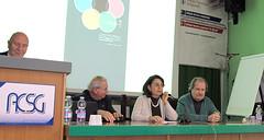 Presidente ACSG Prof. Massimo Dradi e relatori Padre Ermenegildo Bandolini - Ester Crisanti - Giangiorgio Fuga