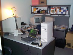 third desk at corecomm/megs