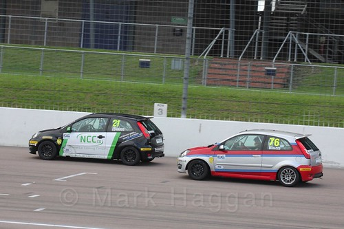 Nathan Edwards and Carlito Miracco in Race 2 at the BRSCC Fiesta Junior Championship, Rockingham, Sept 2015
