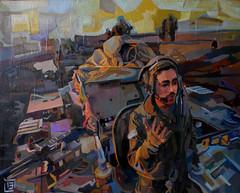 Venuto in guerra, tecnica mista su tela, 30×40, 2013