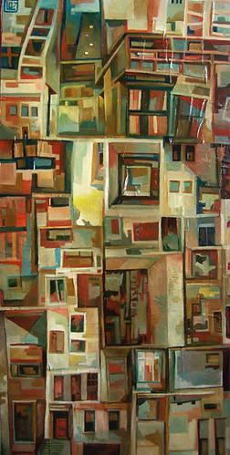 Urbe, tecnica mista su tela, 40×80, 2007