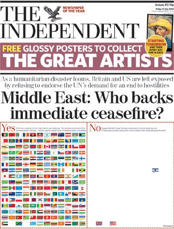 Cover of the UK Independent