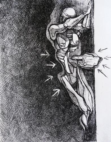 L'inaderente, acquaforte, 2012