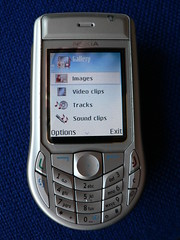 Mobile Phone showing multimedia options