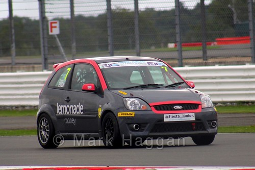 Cameron Pugh in the BRSCC Fiesta Junior Championship at Silverstone, August 2015