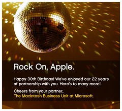 Microsoft's Birthday card to Apple on its 30th...
